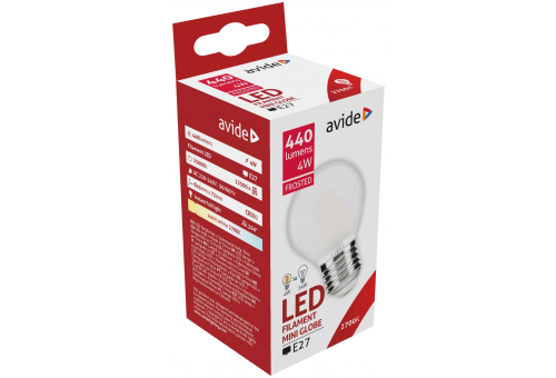 Avide LED Frosted Filament Mini Globe 4W E27 360° WW 2700K